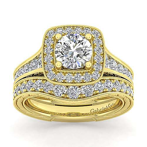 14K Y.Gold Diamond Eng.Ring angle 4