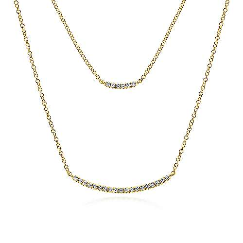 14K Y.Gold Diamond Necklace angle 1
