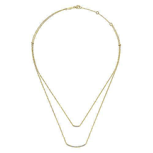 14K Y.Gold Diamond Necklace angle 2