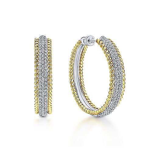 14K Yellow & White Gold Prong Set  30mm Round Classic Diamond Hoop Earrings