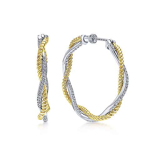 14K Yellow & White Gold Prong Set  30mm Round Twisted Inside Out Diamond Hoop Earrings
