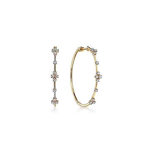 14K Yellow Gold 40mm Round Classic Prong Set Diamond Hoop Earrings
