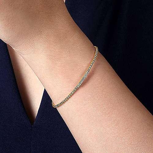 14K Yellow Gold Bujukan Bead Cuff Bracelet with Diamonds