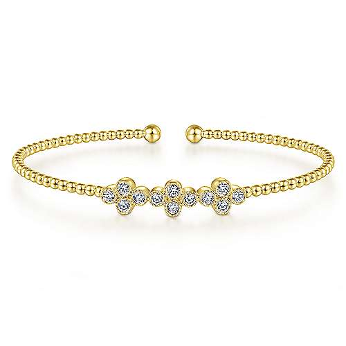 14K Yellow Gold Diamond Bangle