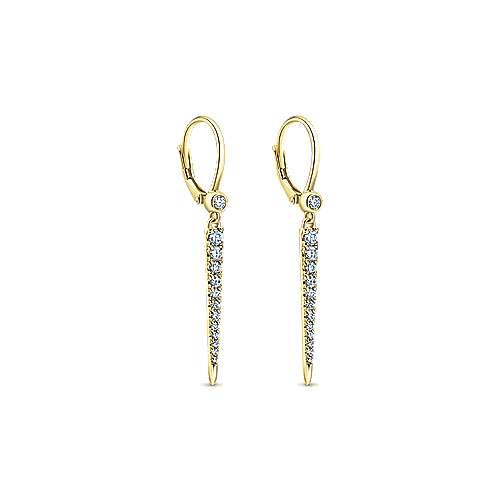 14K Yellow Gold Diamond Earring angle 2