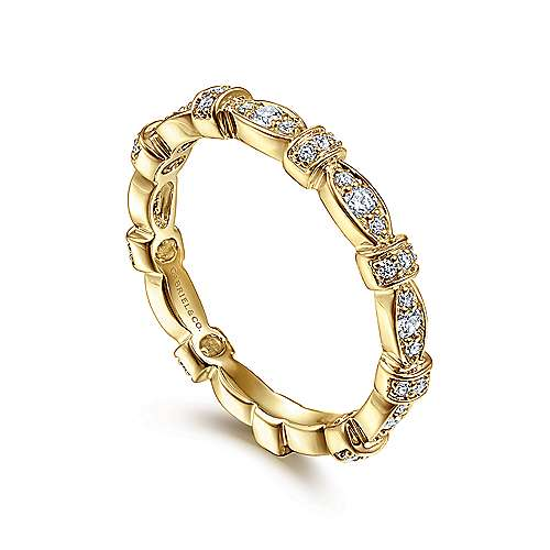 14K Yellow Gold Diamond Ring angle 3