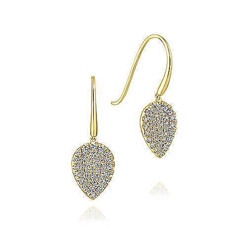 14K Yellow Gold Diamond Teardrop Earrings