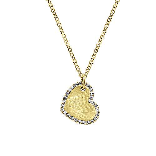 Yellow Gold Heart Engravable Necklace
