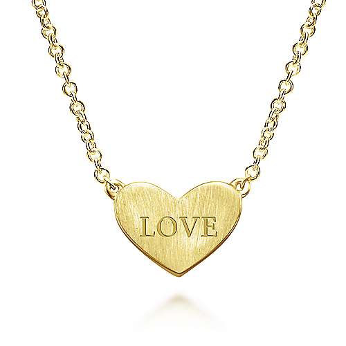 14K Yellow Gold Heart Engravable Necklace angle 2