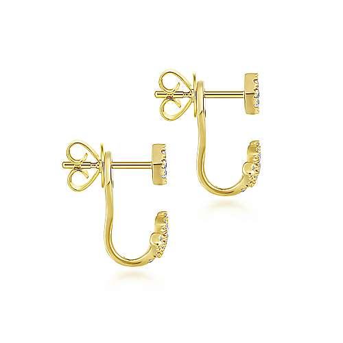 14K Yellow Gold Peek A Boo Chevron Diamond Earrings angle 3