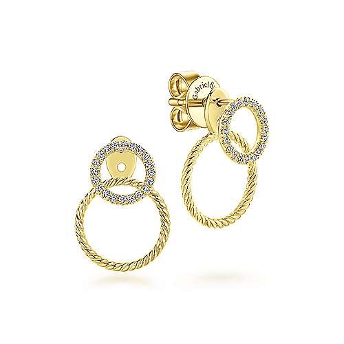 14K Yellow Gold Peek A Boo Double Circle Diamond Earrings