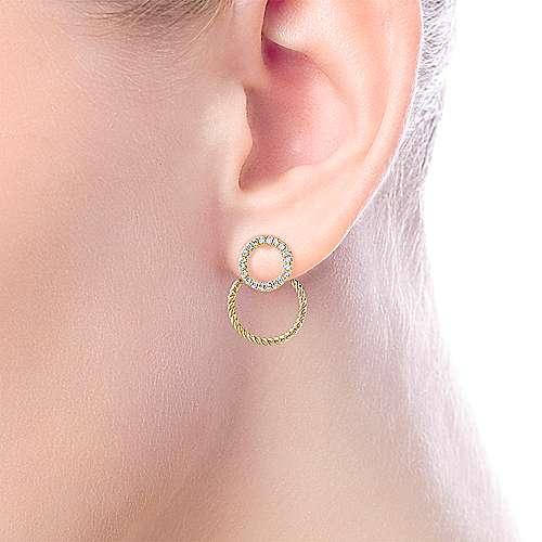 14K Yellow Gold Peek A Boo Double Circle Diamond Earrings angle 2