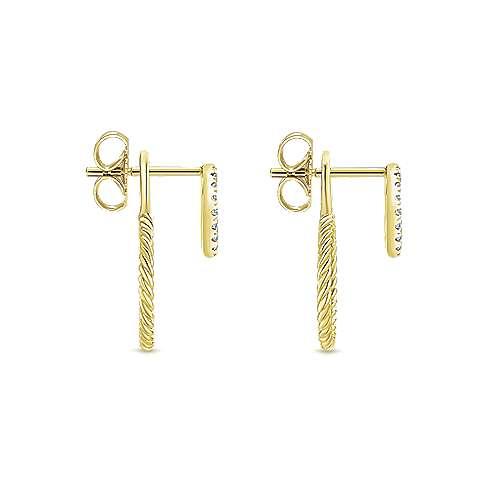14K Yellow Gold Peek A Boo Double Circle Diamond Earrings angle 3