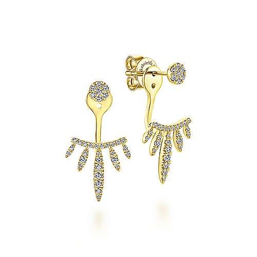 14K Yellow Gold Peek A Boo Petal Diamond Earrings angle 1