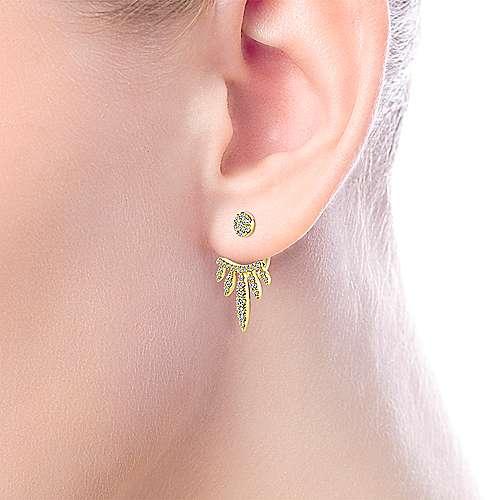 14K Yellow Gold Peek A Boo Petal Diamond Earrings angle 2