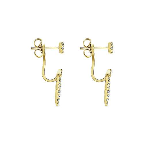 14K Yellow Gold Peek A Boo Petal Diamond Earrings angle 3