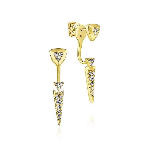14K Yellow Gold Peek A Boo Triangle Spike Diamond Earrings angle 1