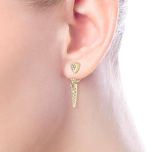14K Yellow Gold Peek A Boo Triangle Spike Diamond Earrings angle 2