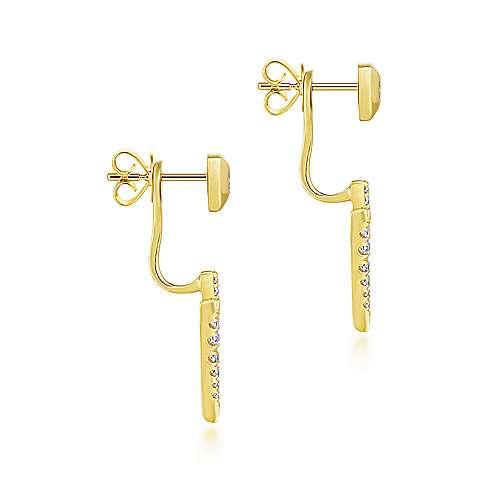14K Yellow Gold Peek A Boo Triangle Spike Diamond Earrings angle 3