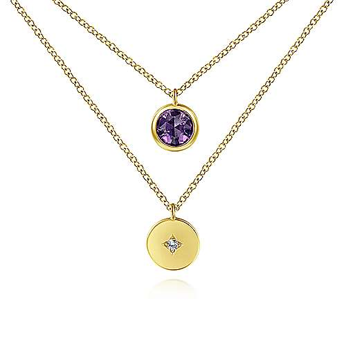 14K Yellow Gold Round Bezel Set Amethyst and Diamond Disc Necklace