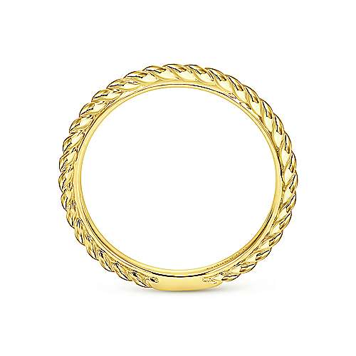 14K Yellow Gold Twisted Midi Ladies Ring