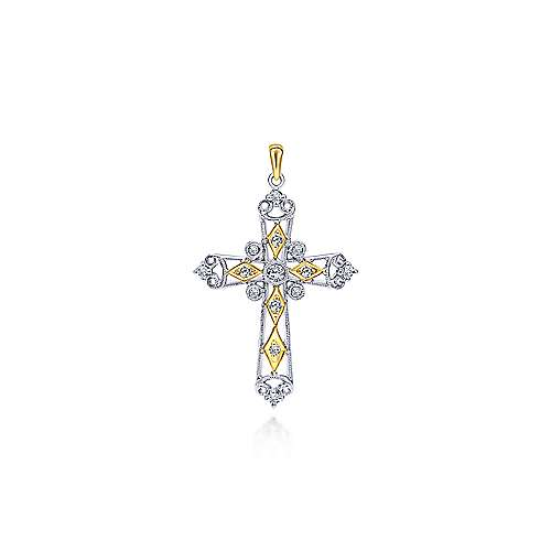 14K Yellow-White Gold  Fashion Cross Pendant
