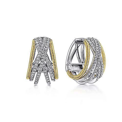 14K Yellow-White Gold 20MM Fashion Earrings