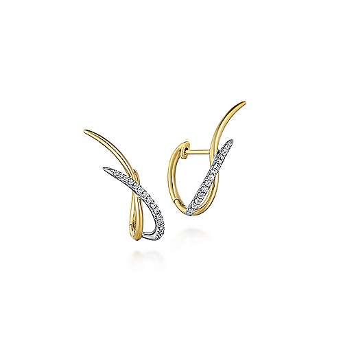 14K Yellow-White Gold 25MM Fashion Earrings