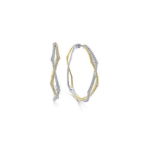 14K Yellow-White Gold 40MM Fashion Earrings