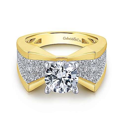 14K Yellow-White Gold Engagement Ring