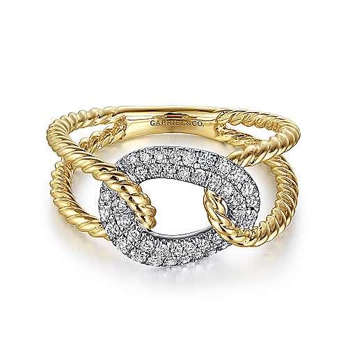Gabriel - 14K Yellow-White Gold Fashion Ladies' Ring