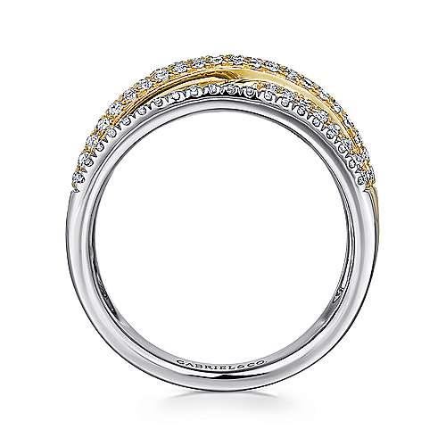 14K Yellow/White Gold Split Shank Twisted Ring