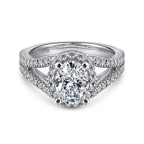 Gabriel - 14k White Gold Rosette  Engagement Ring