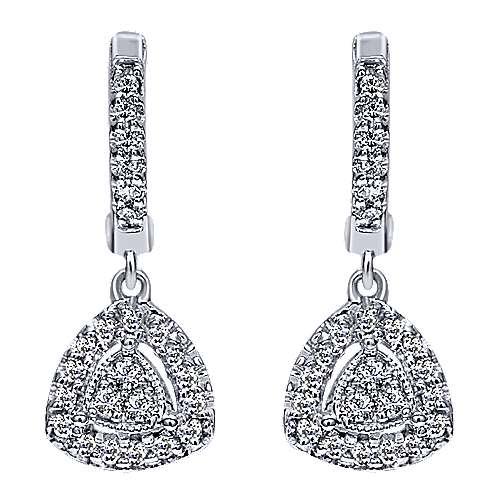 Gabriel - 14k White Gold Contemporary Drop Earrings