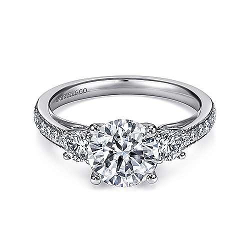 Gabriel - 14k White Gold Victorian Engagement Ring