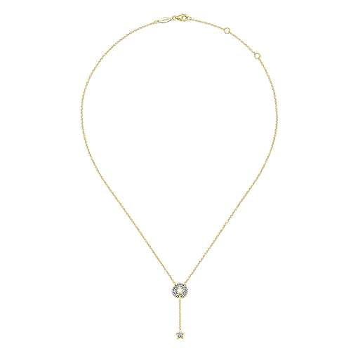 14KY Gold Dia Necklace angle 2