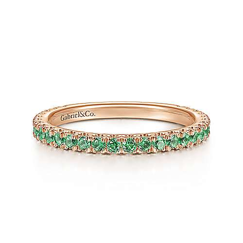 14k Pink Gold  And Emerald Stackable