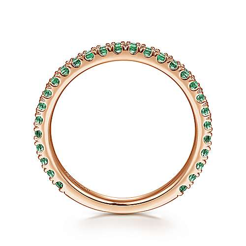 14k Pink Gold  And Emerald Stackable Ladies