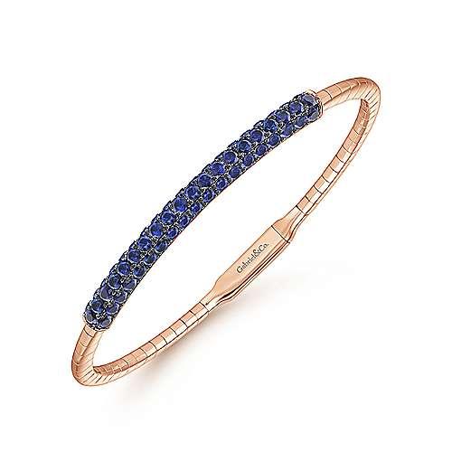 14k Pink Gold  And Sapphire Bangle angle 2