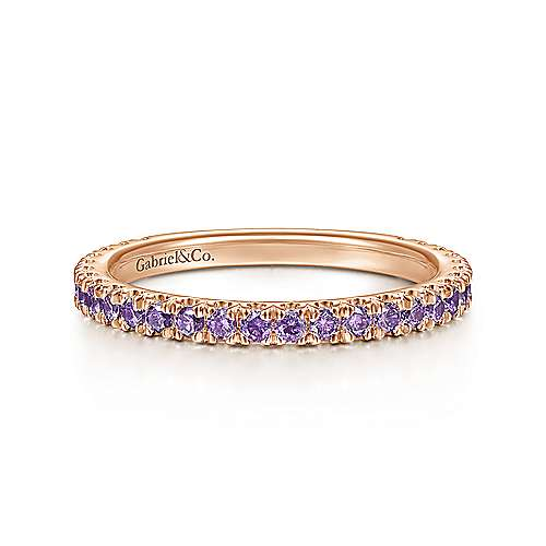 14k Pink Gold Amethyst Stackable