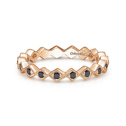 14k Pink Gold Black Diamond Stackable