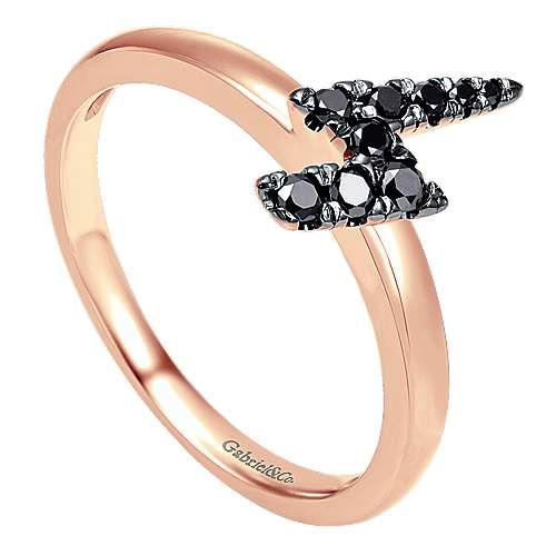 14k Pink Gold Black Diamond Stackable Ladies