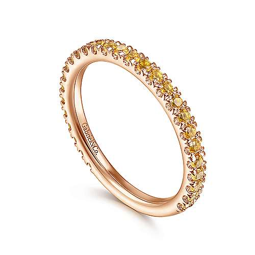 14k Pink Gold Citrine Stackable Ladies