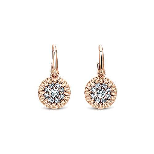 Gabriel - 14k Pink Gold Clustered Diamonds Drop Earrings