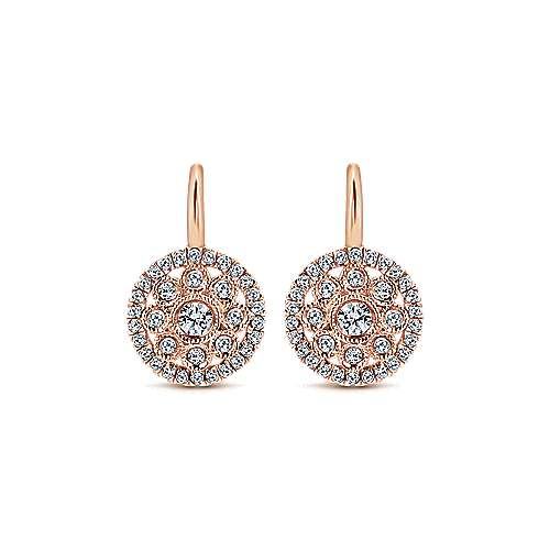 14k Pink Gold Clustered Diamonds Drop Earrings angle 1