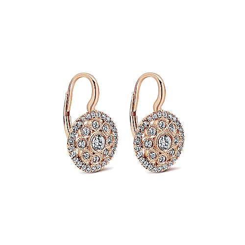 14k Pink Gold Clustered Diamonds Drop Earrings angle 2
