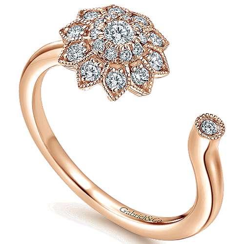 14k Pink Gold Clustered Diamonds Fashion Ladies