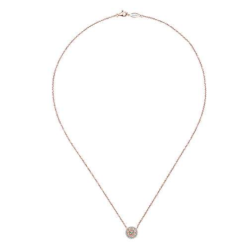 14k Pink Gold Clustered Diamonds Fashion Necklace angle 2