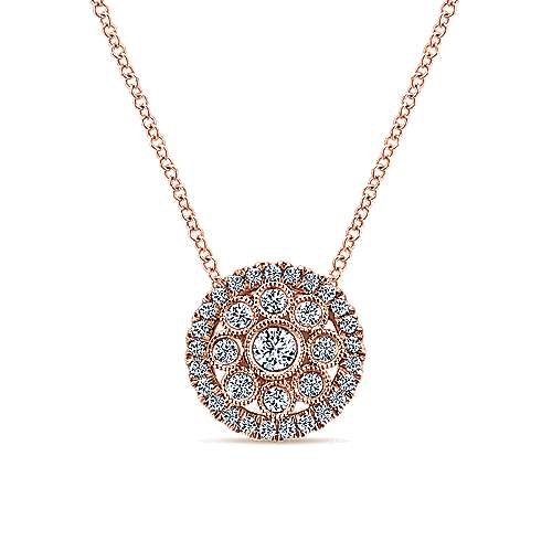 Gabriel - 14k Pink Gold Clustered Diamonds Fashion Necklace