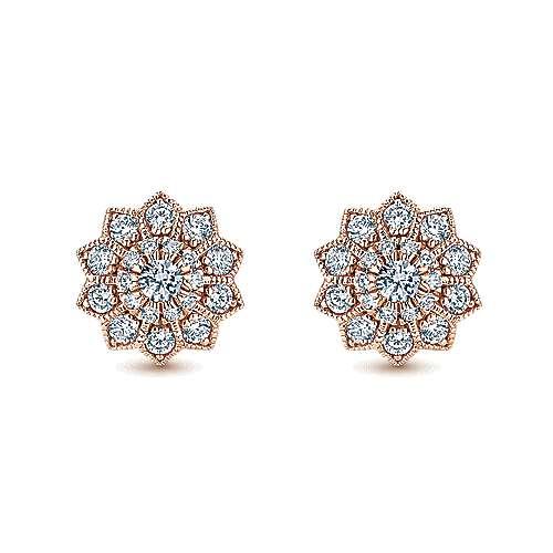 Gabriel - 14k Pink Gold Clustered Diamonds Stud Earrings
